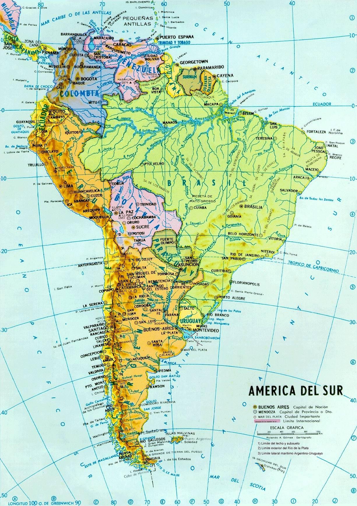 Carte des fleuves en Amérique du Sud