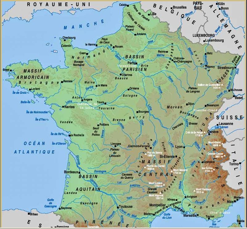 Carte des fleuves en France