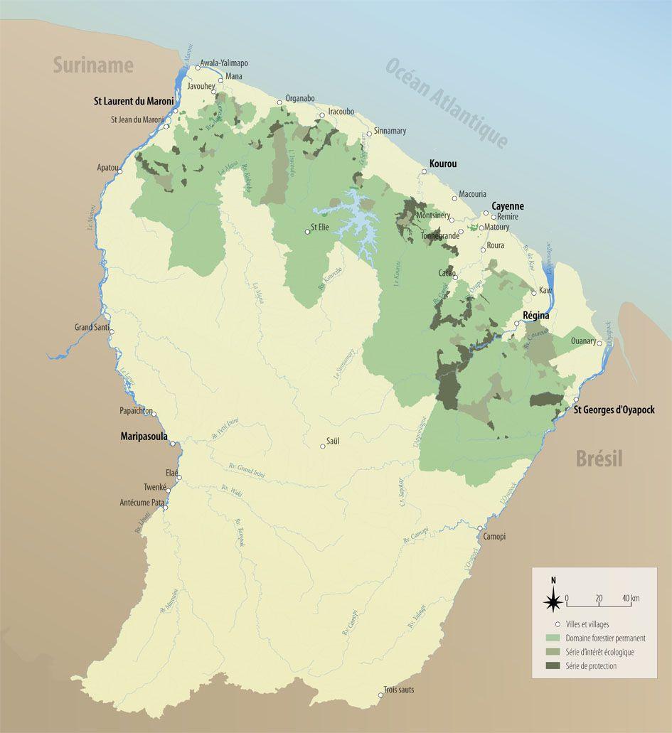 Carte forêt de la Guyane française