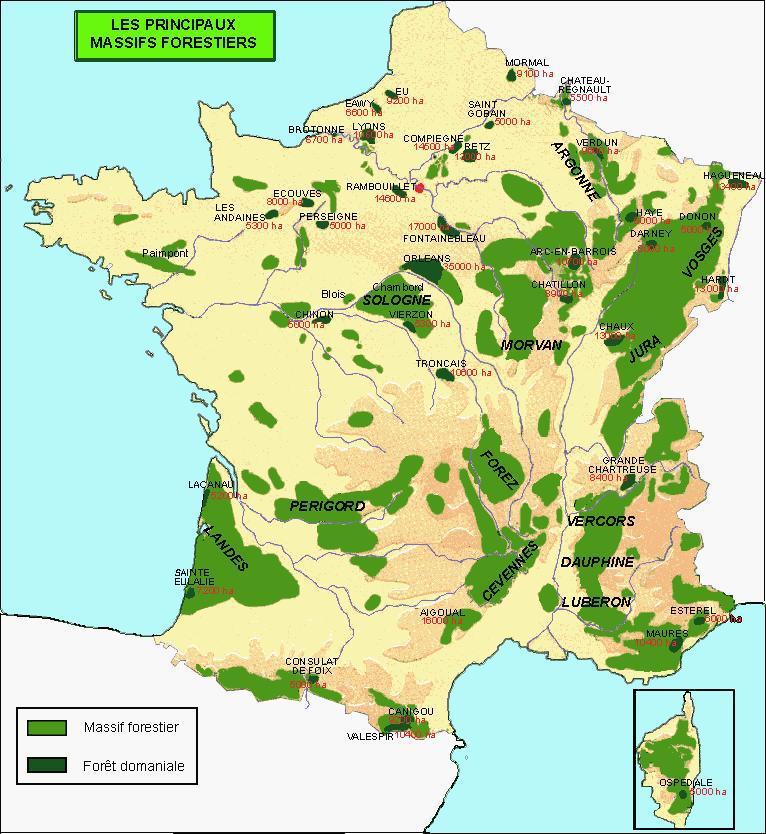 Carte des forêts de France