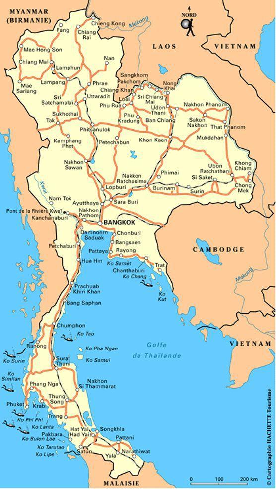 Carte des grandes routes de Thaïlande
