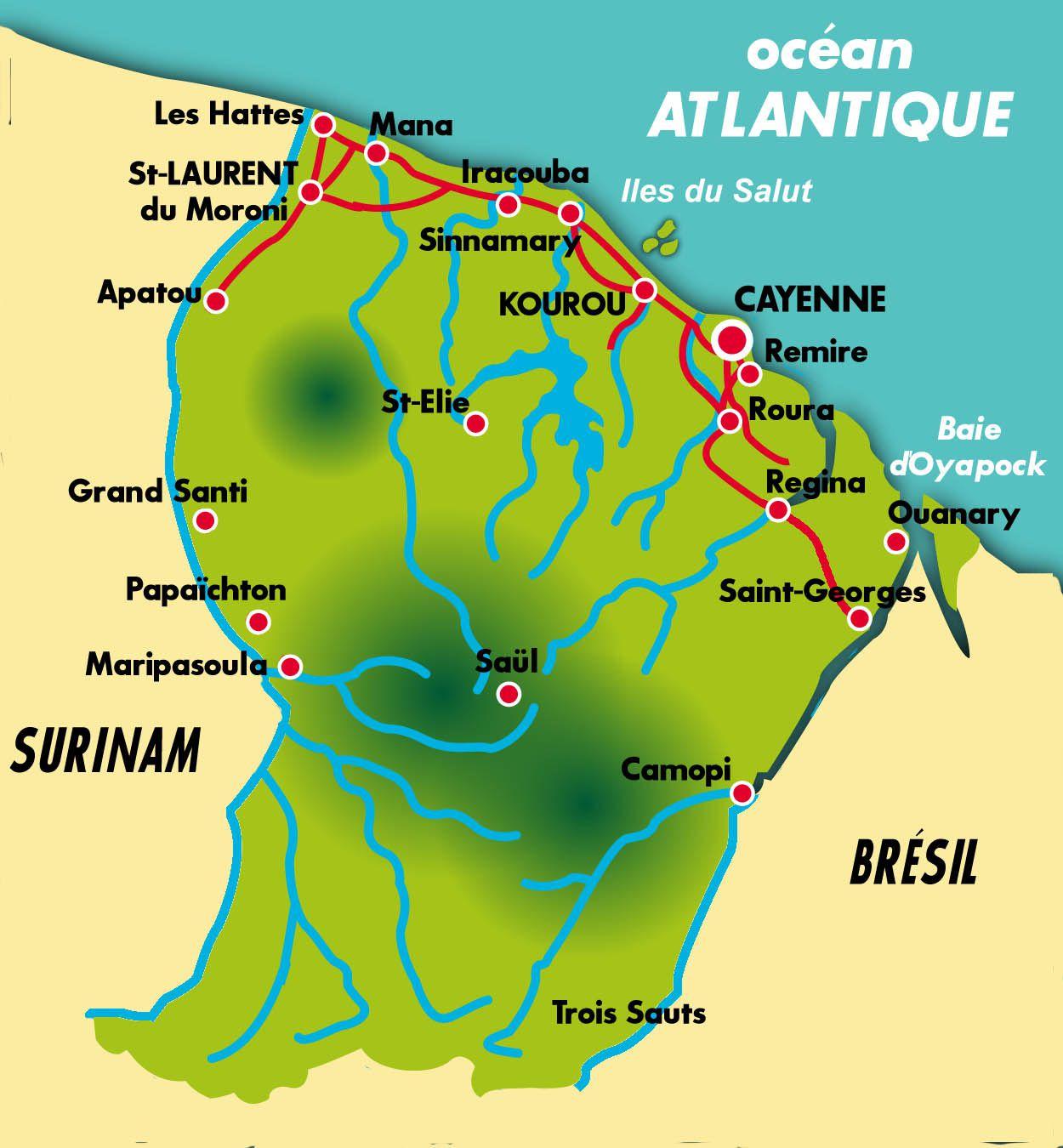 Carte de la Guyane française (villes)
