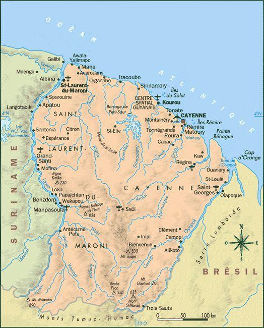 Carte de la Guyane - politique