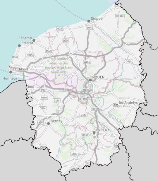 Carte de la Haute Normandie