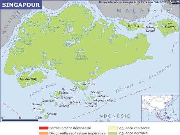 Carte des îles de Singapour