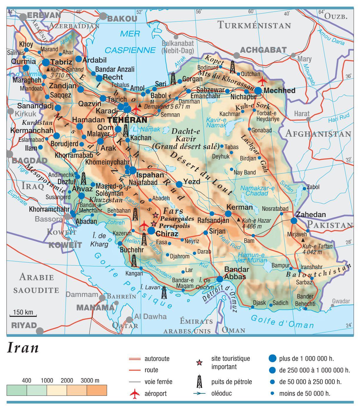 Carte de l'Iran - Politique