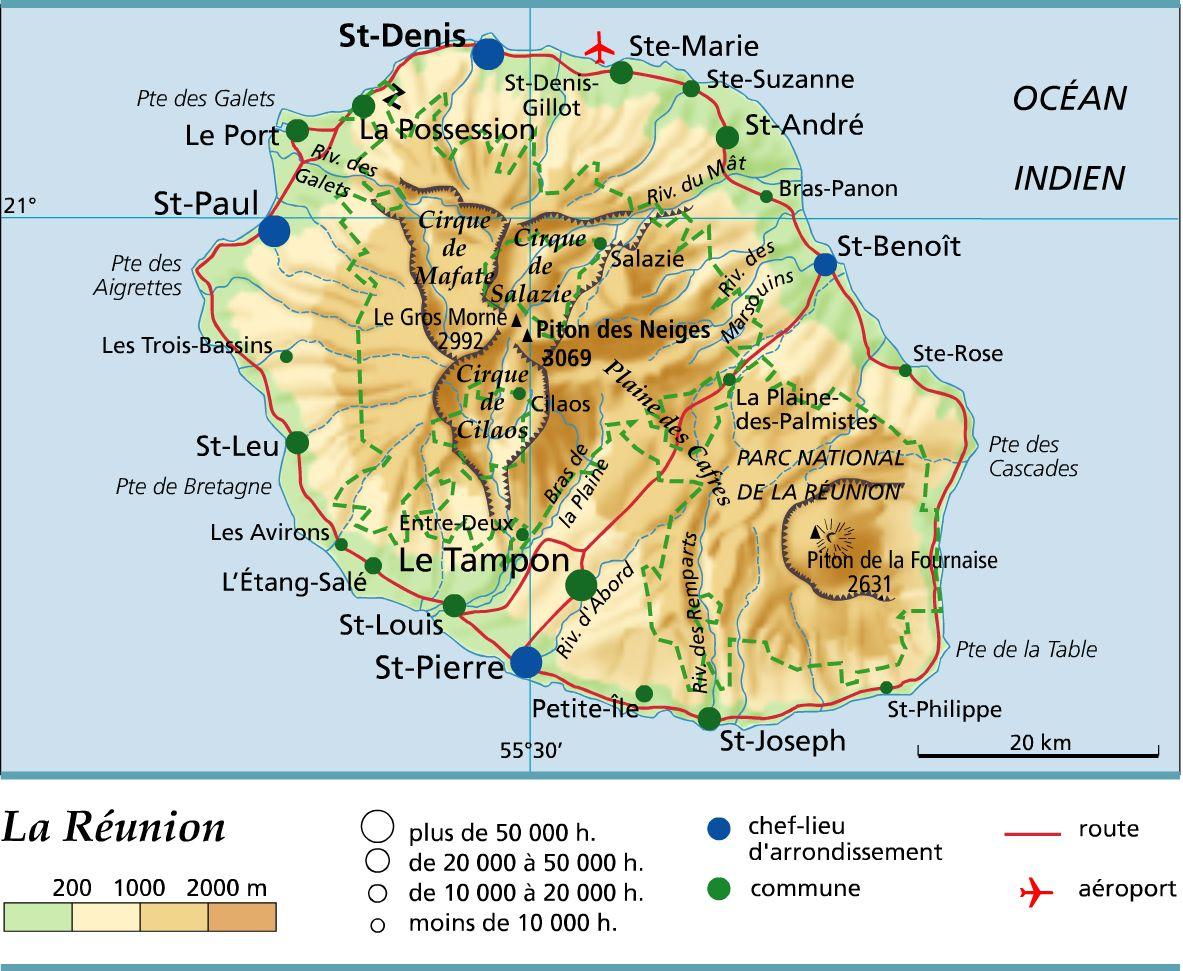 Carte de La Réunion - politique