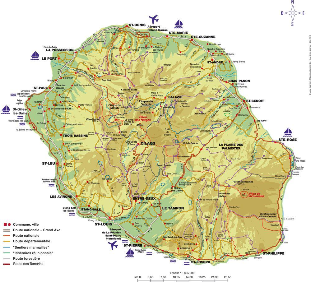 Assez Carte de La Réunion - La Réunion cartes des villes, relief  NX91