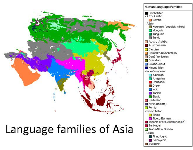Carte de l'Asie - les langues