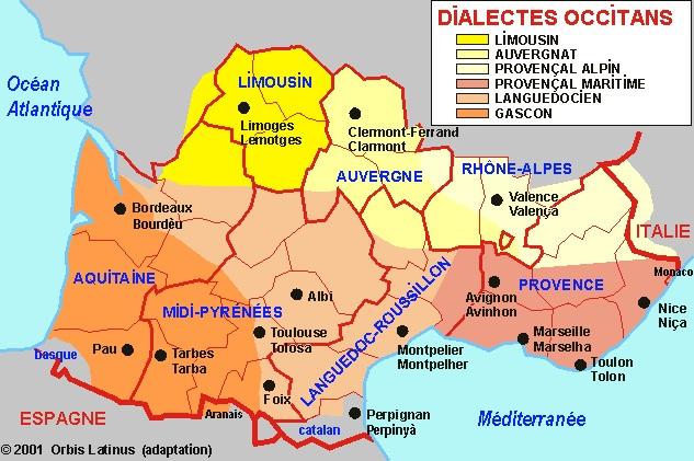 Carte des langues de l'Occitanie