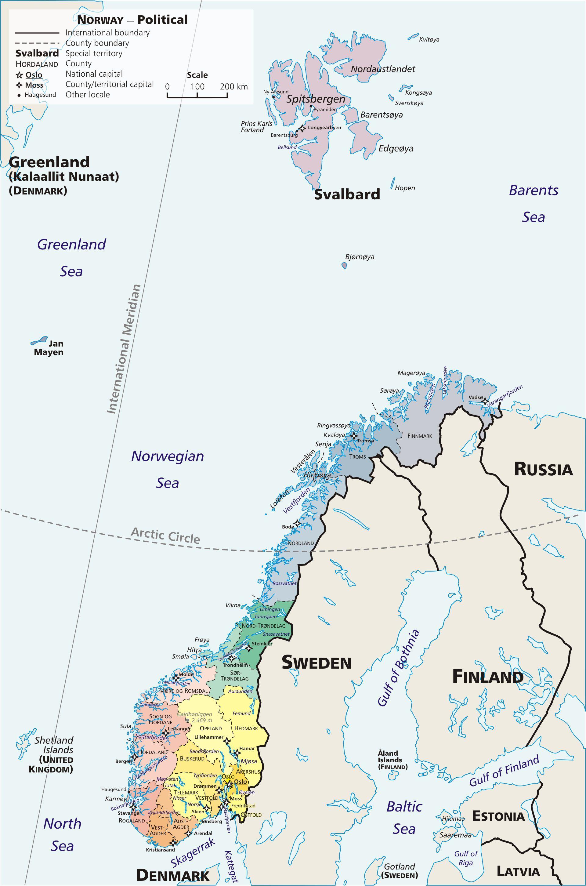 Carte de la Norvège - Politique