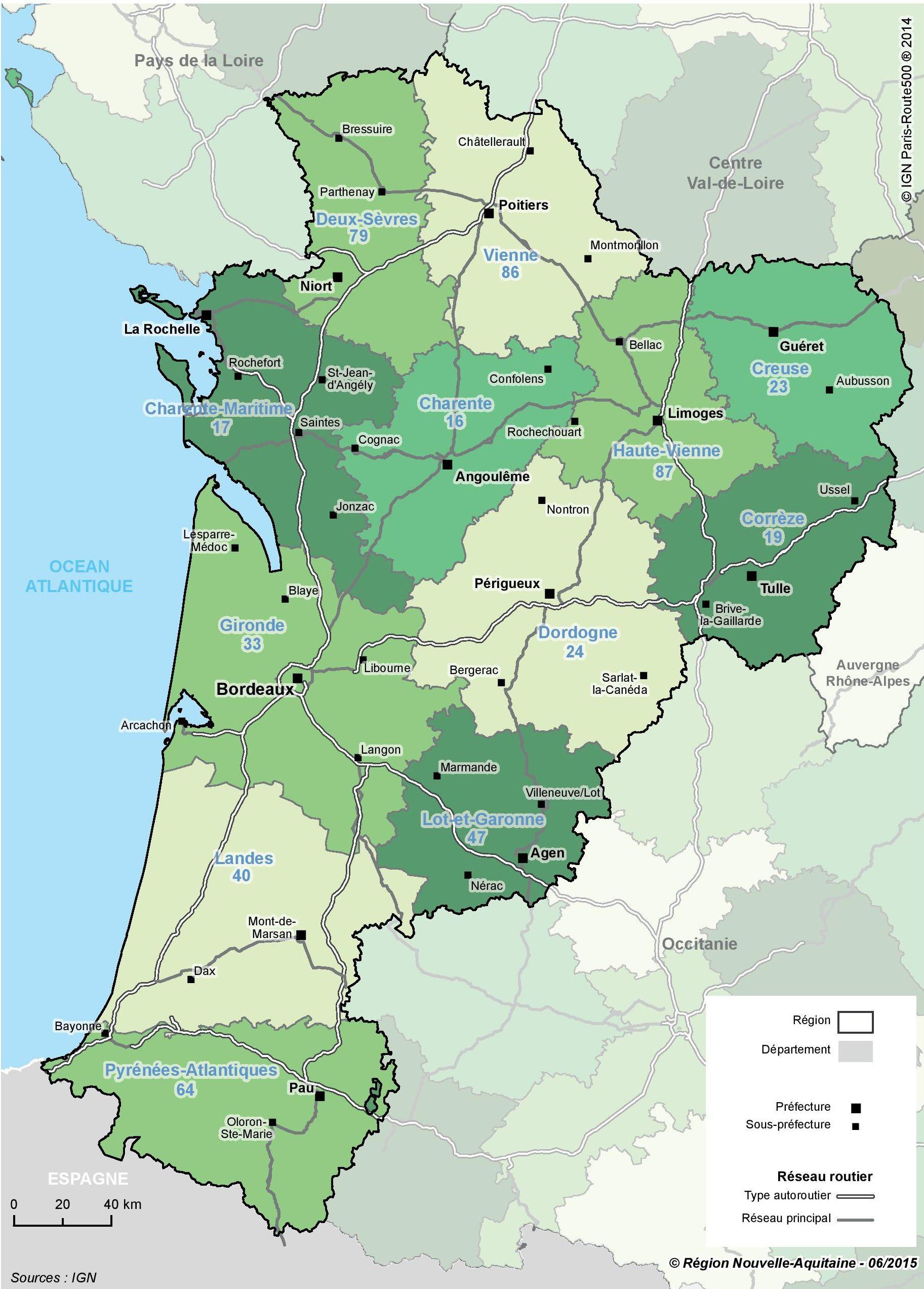 Carte de la Nouvelle-Aquitaine - Politique