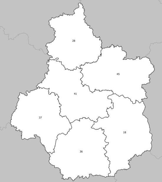 Carte des numéros des départements de la région Centre-Val de Loire