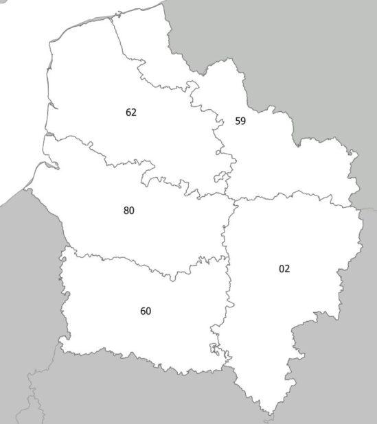 Carte des numéros des départements des Hauts-de-france