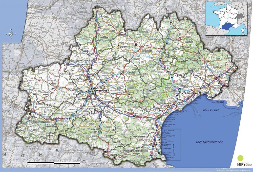 Carte de l'Occitanie - Occitanie carte des villes ...