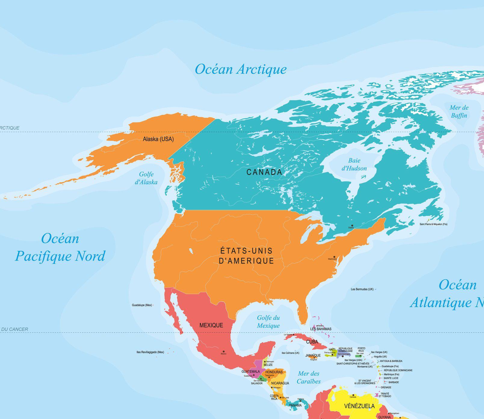 Carte Amerique Nord Avec Villes.Carte De L Amerique Du Nord Et Centrale Pays Relief
