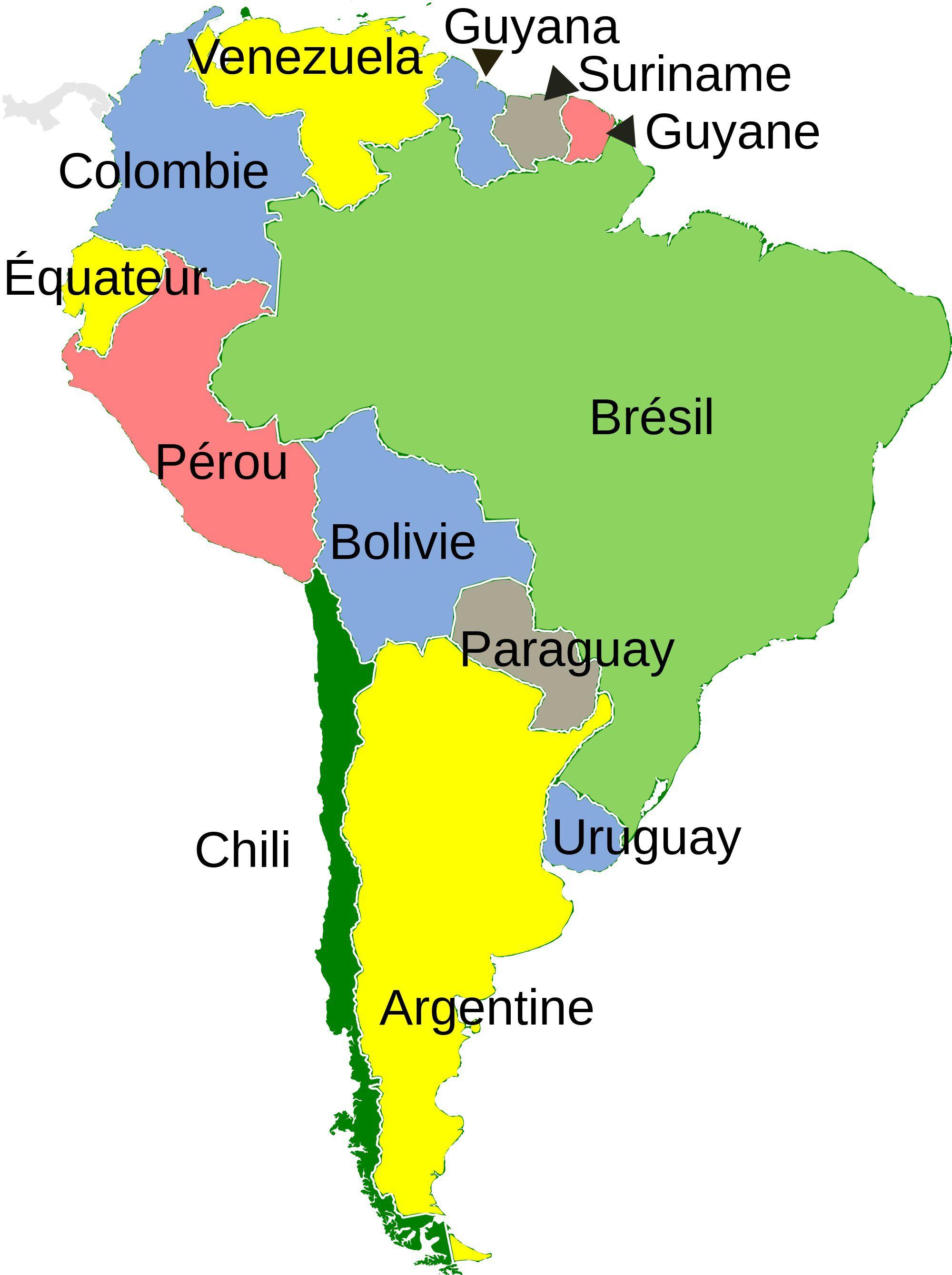 Carte de l'Amérique du Sud : les pays