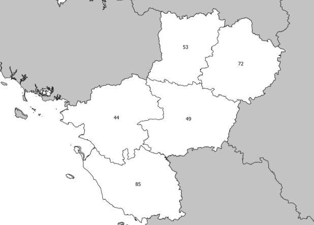 Carte vierge des Pays de la Loire avec départements