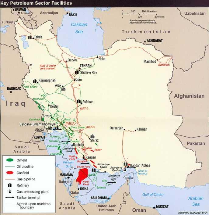 Carte du pétrole en Iran