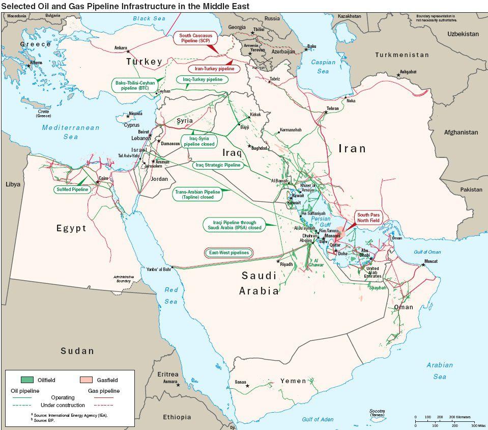 Carte des pipelines d'Arabie Saoudite