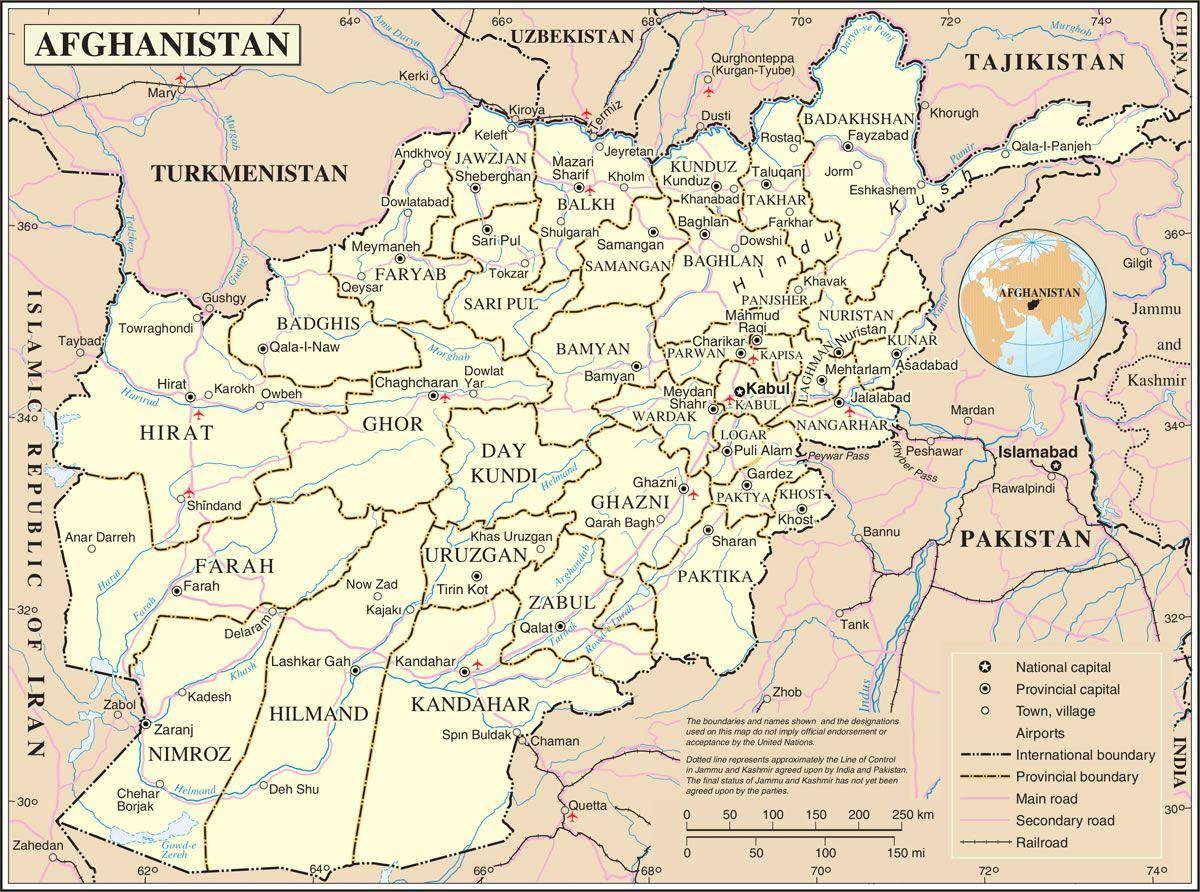 Carte de l'Afghanistan - Politique