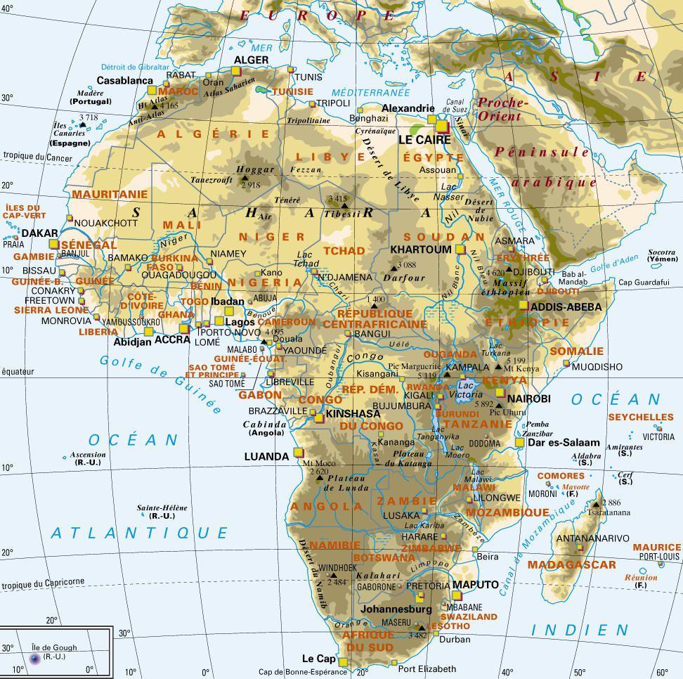 Carte de l'Afrique - Politique