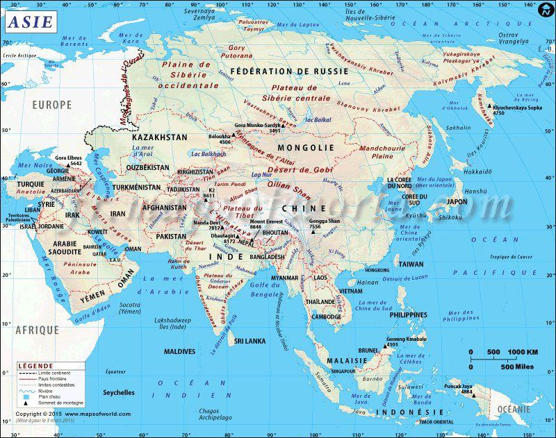 Carte politique de l'Asie