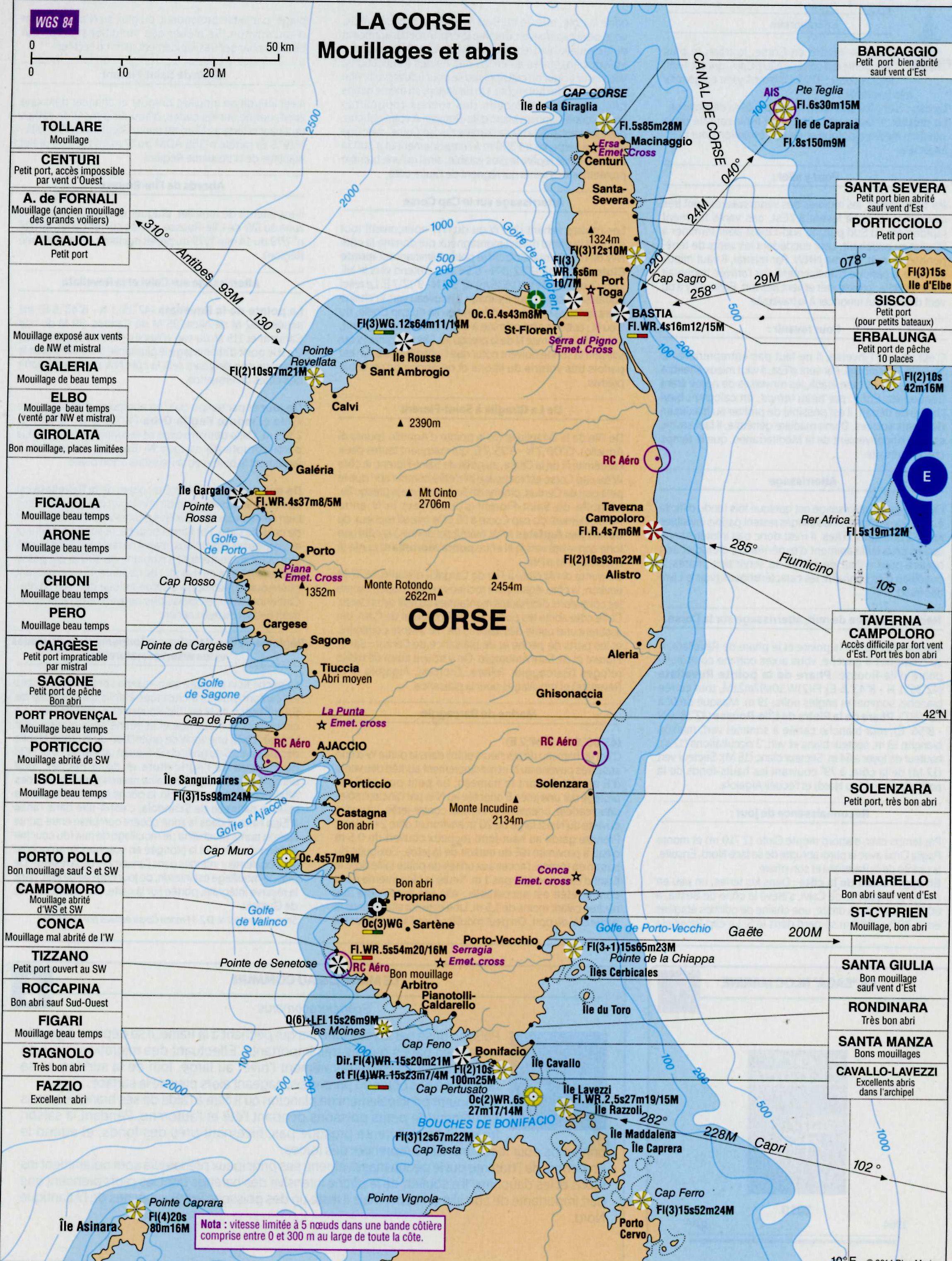 Carte des ports de Corse