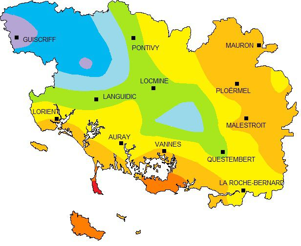 Carte des précipitations du Morbihan