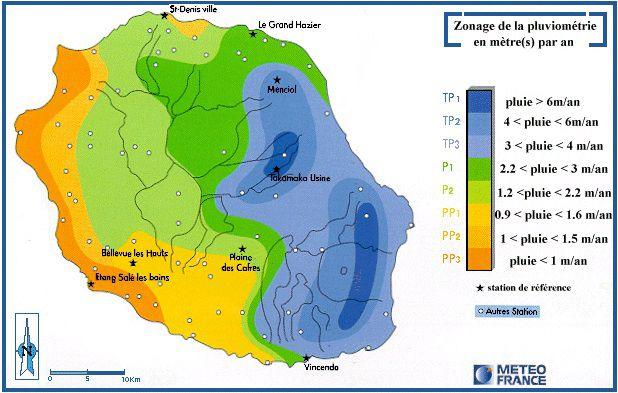 Carte des précipitations de La Réunion