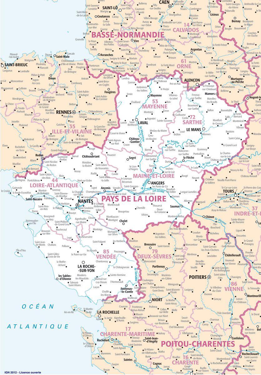 carte pays de la loire - Photo