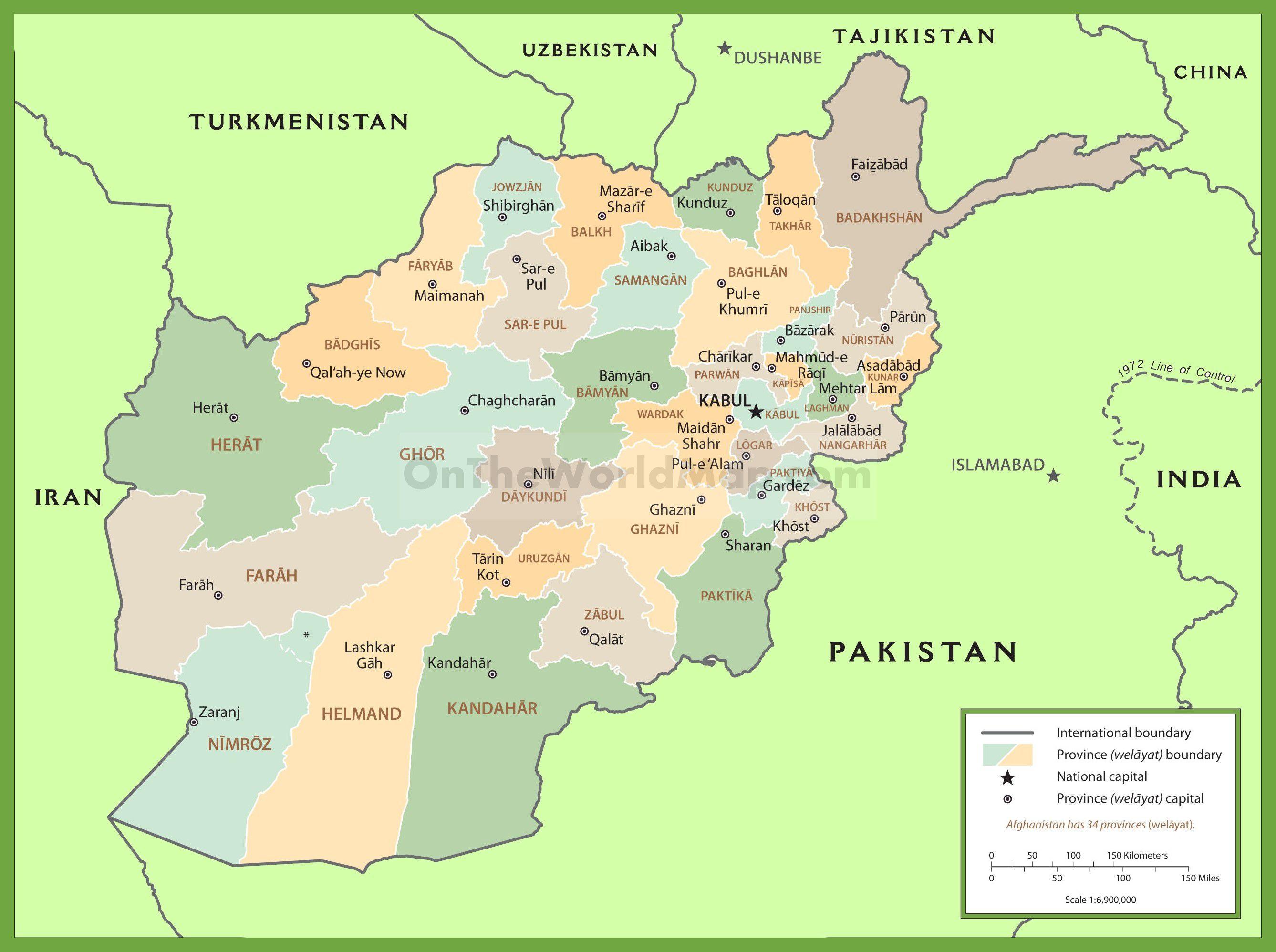 Carte des régions de l'Afghanistan