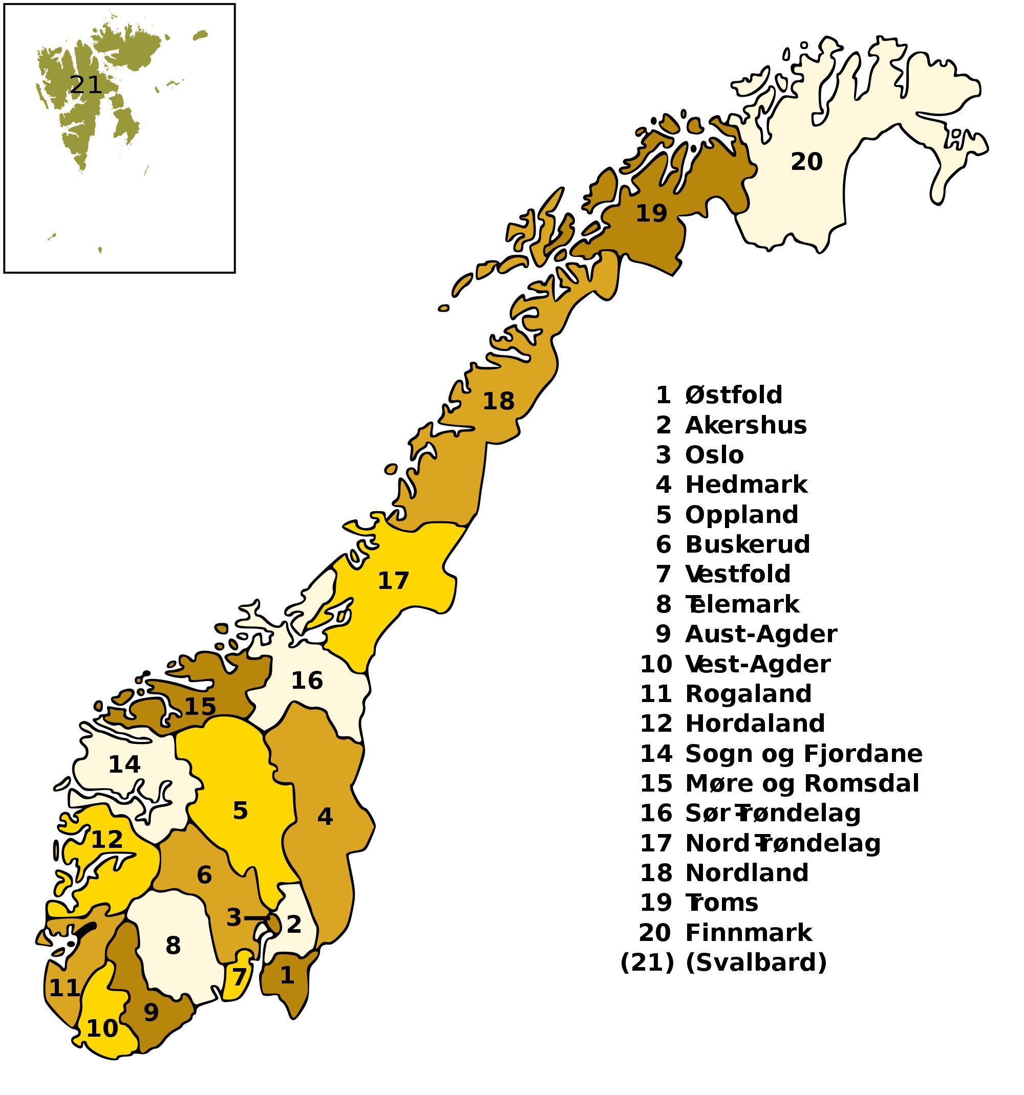 Carte des régions de Norvège