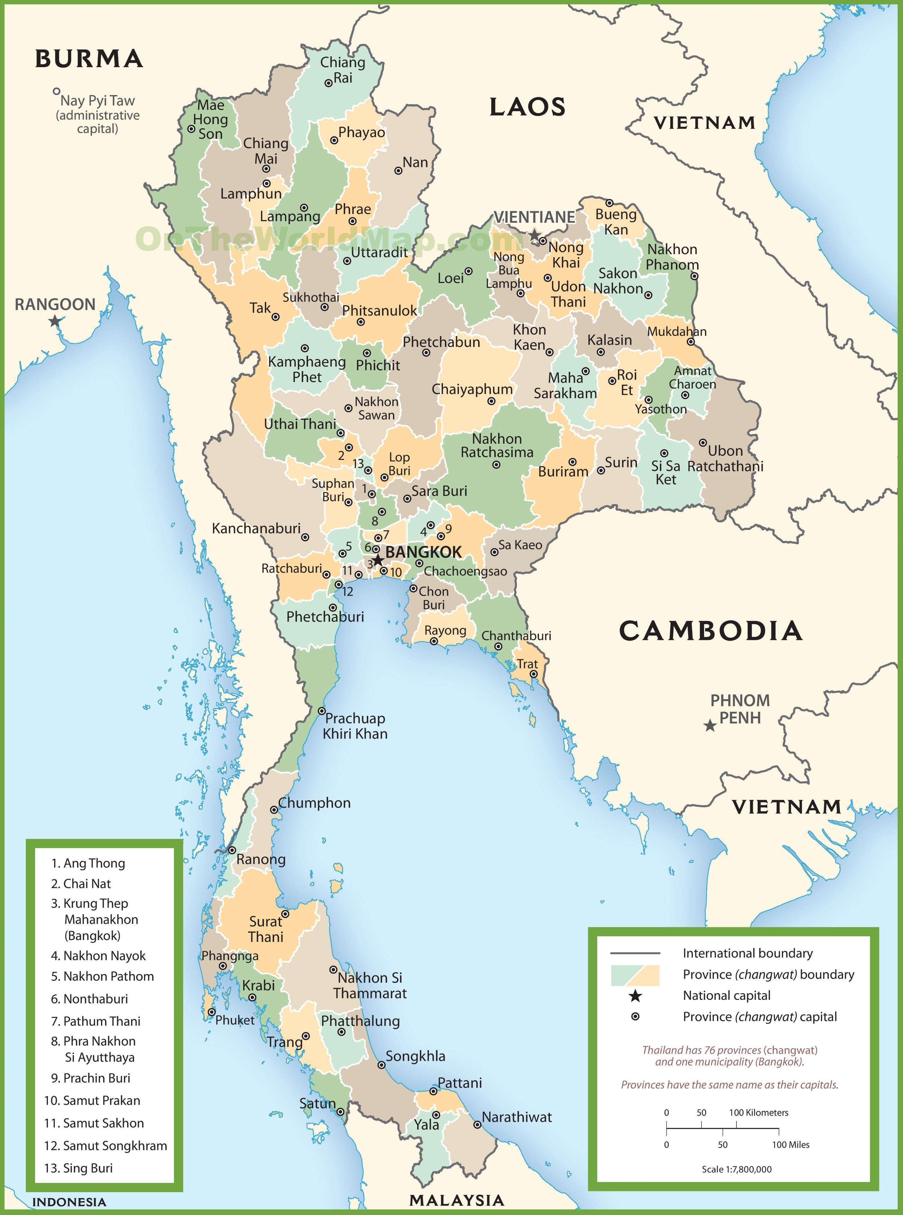 Carte des régions de Thaïlande