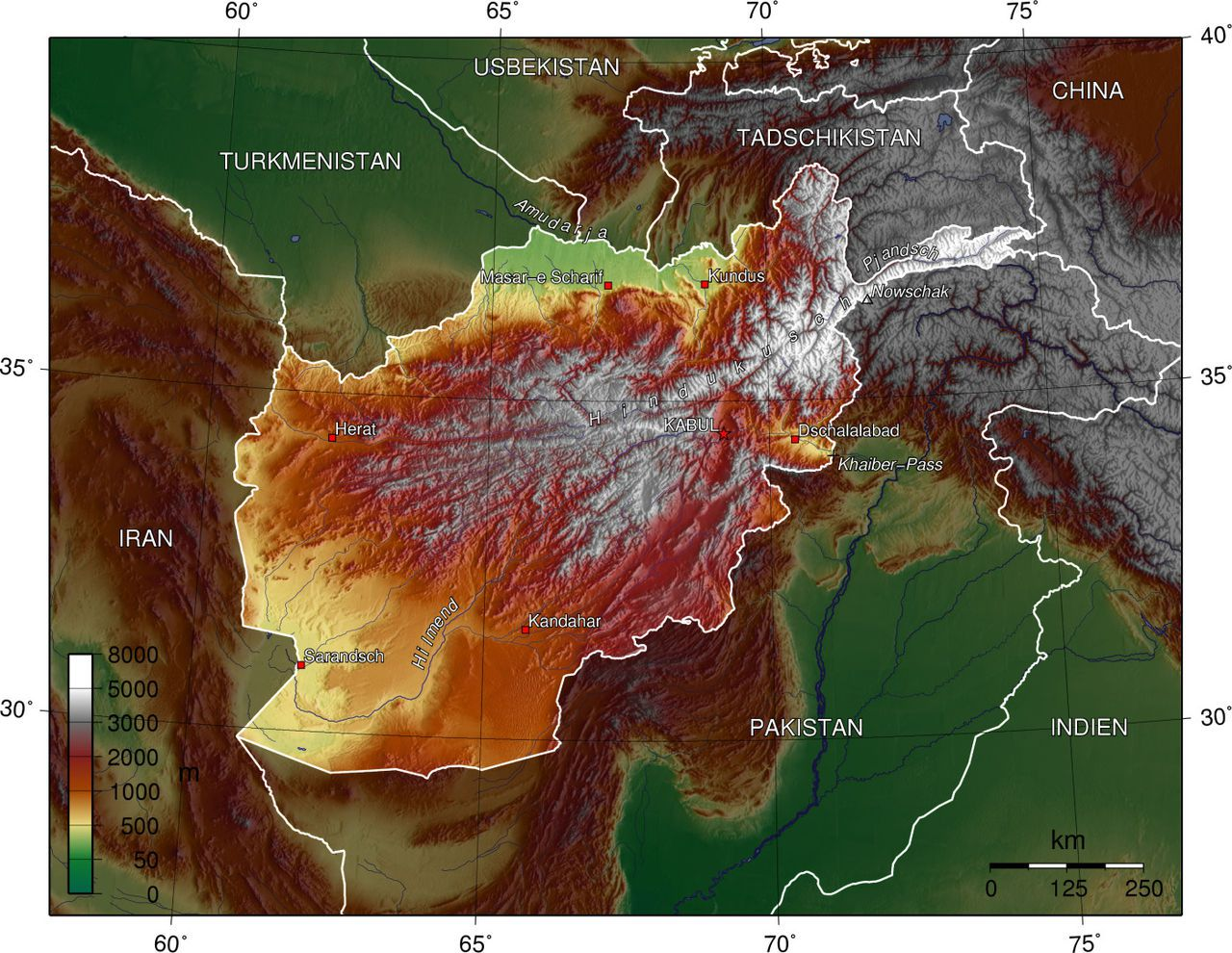 Carte du relief de l'Afghanistan