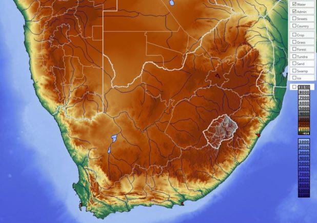 Carte du relief de l'Afrique du Sud
