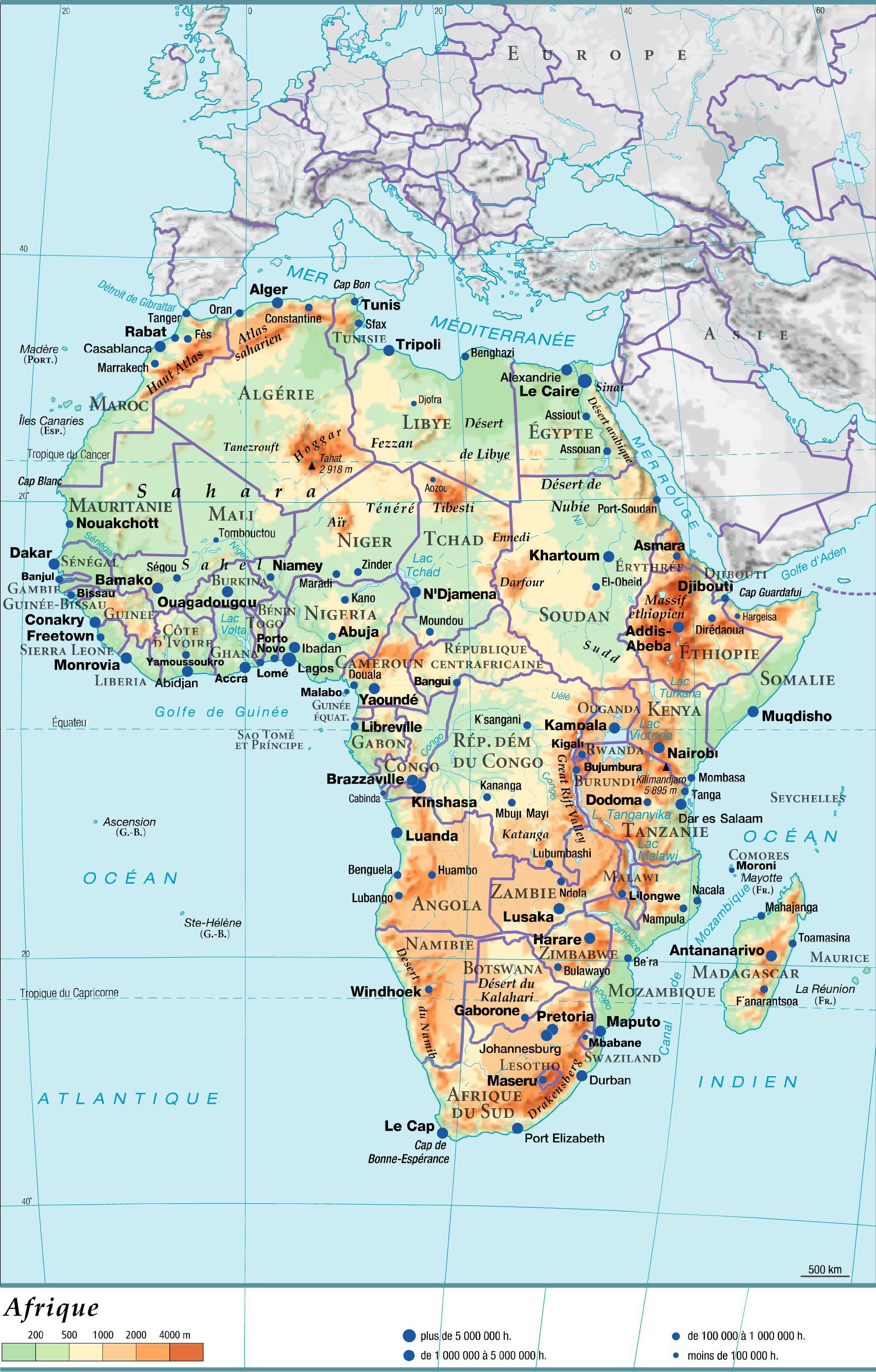 Carte du relief de l'Afrique