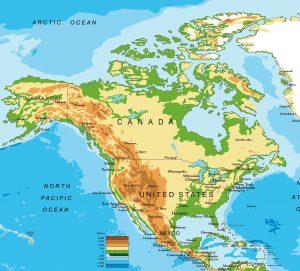 Carte du relief en Amérique du Nord et Centrale