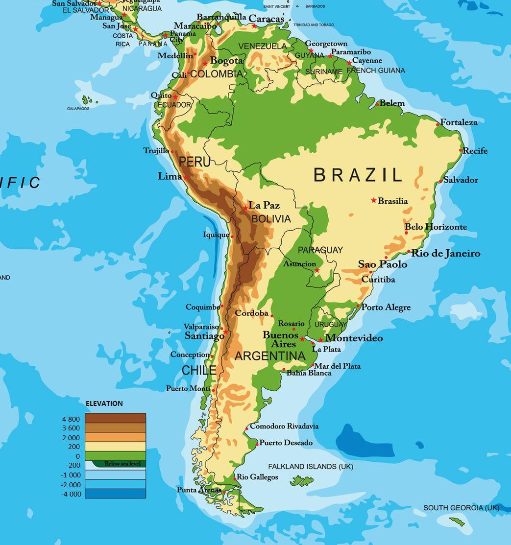 Relativ Carte de l'Amérique du Sud TY97