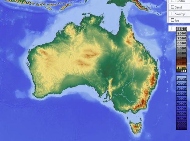 Carte du relief de l'Australie