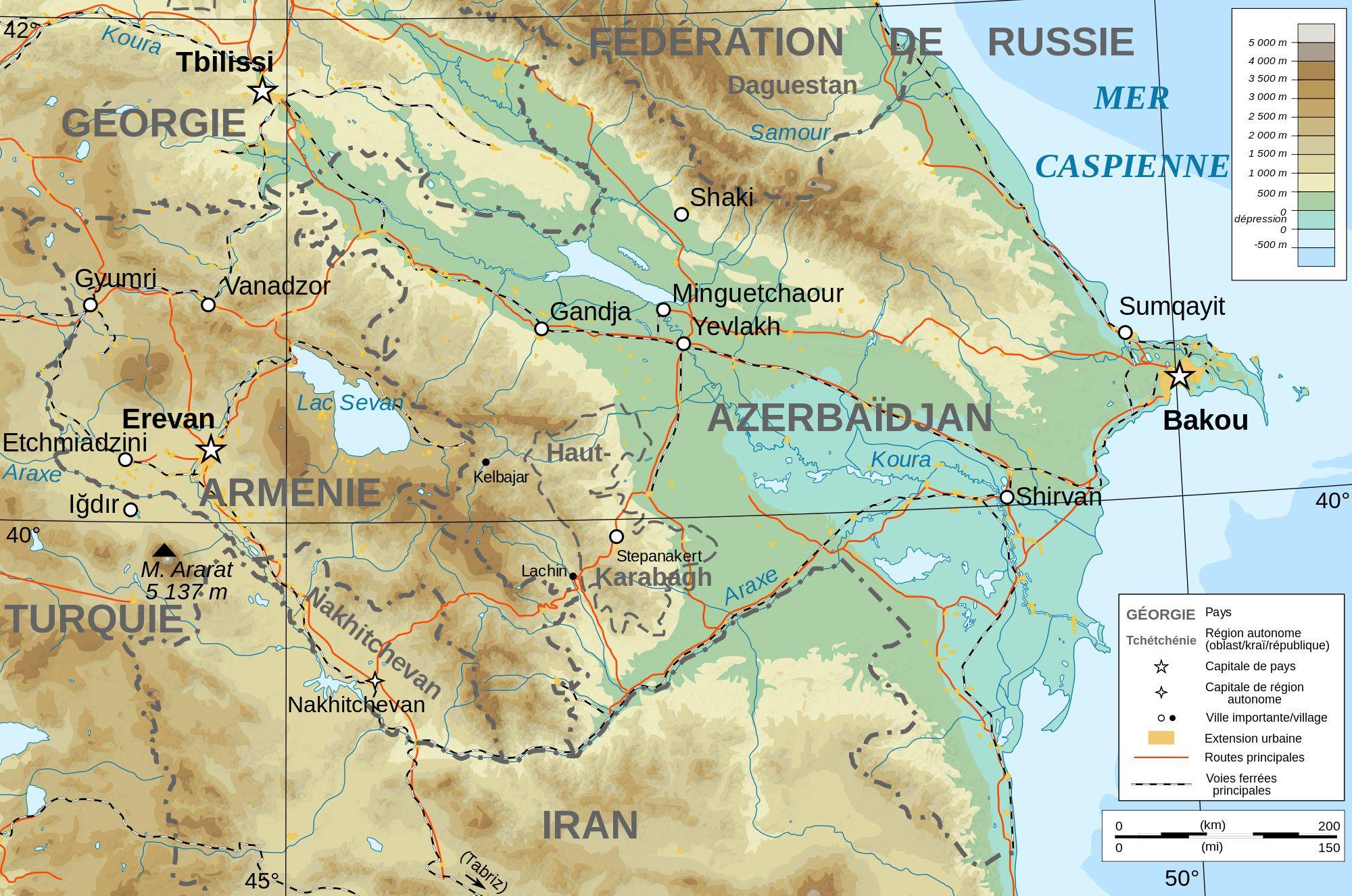 Carte du relief de l'Azerbaïdjan