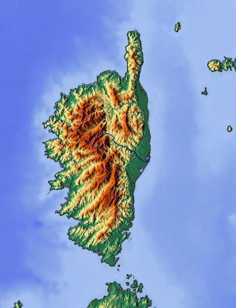 Carte du relief de la Corse