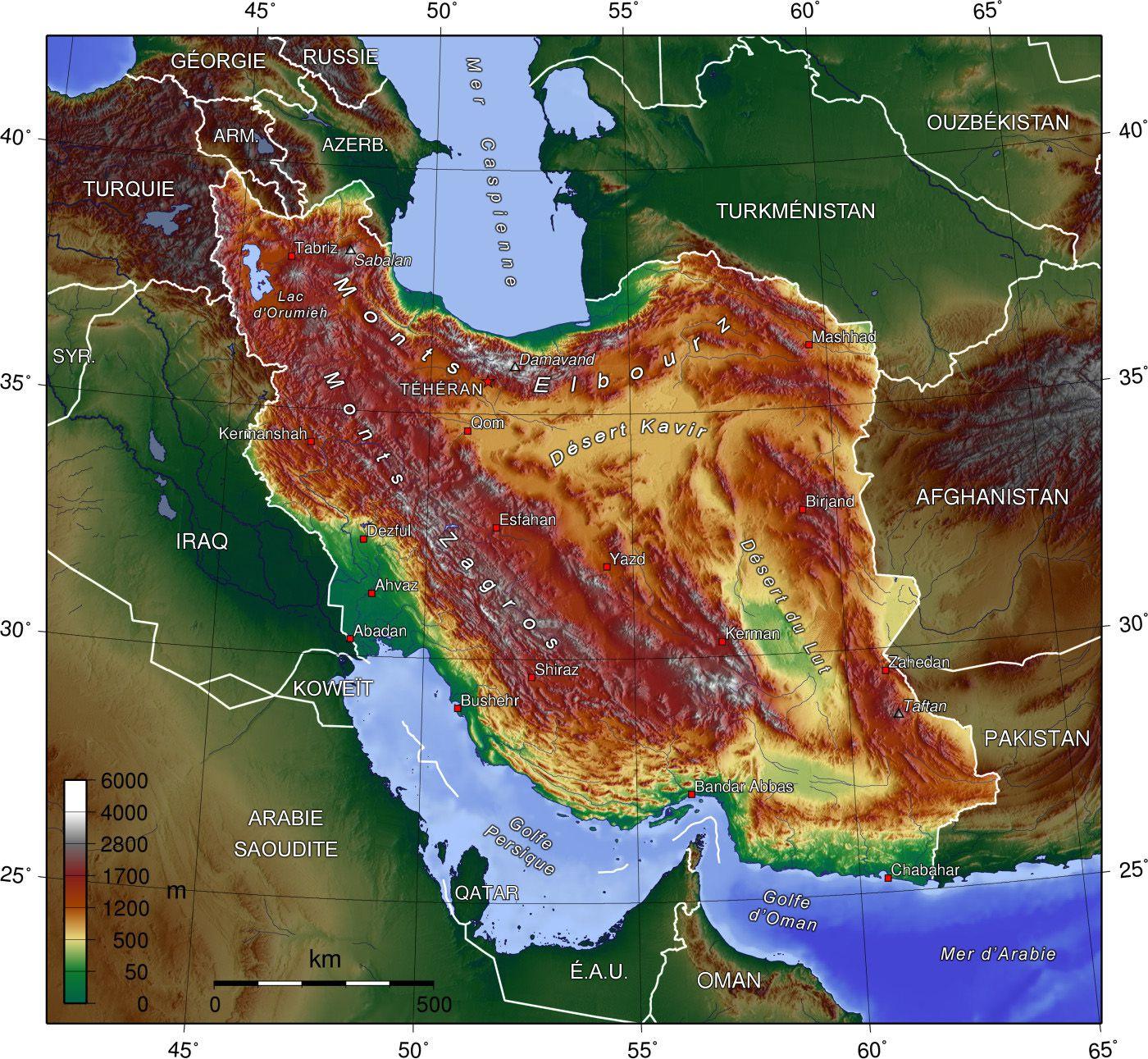 Carte du relief de l'Iran