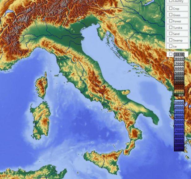 Carte du relief de l'Italie