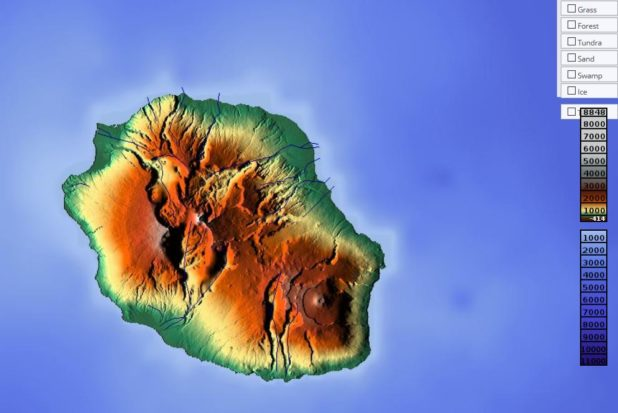 Carte du relief de la Réunion