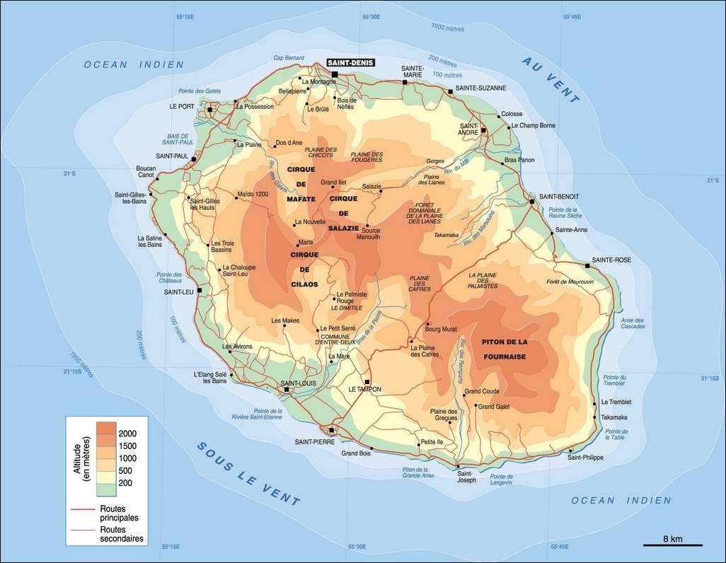 Carte du relief de La Réunion