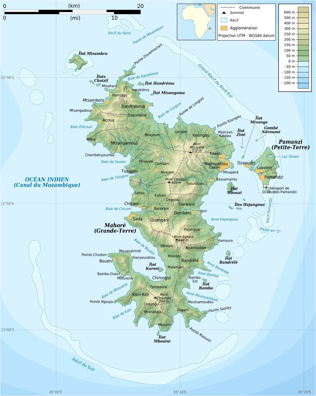 Carte du relief de Mayotte