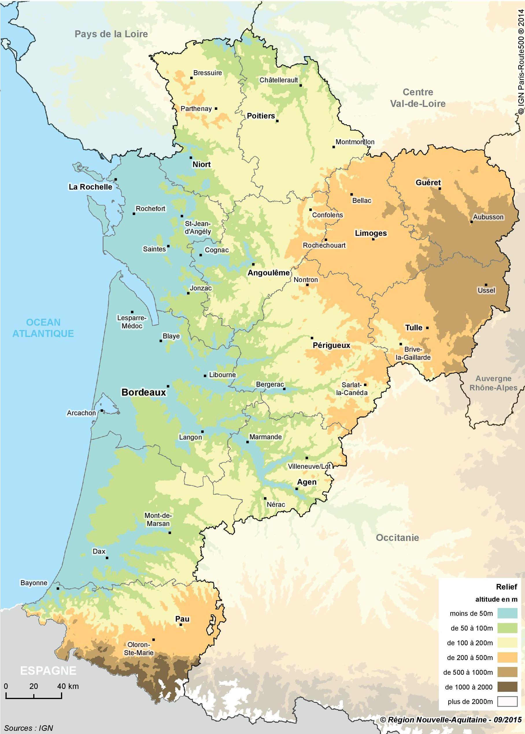 Carte Du Relief De La Nouvelle Aquitaine