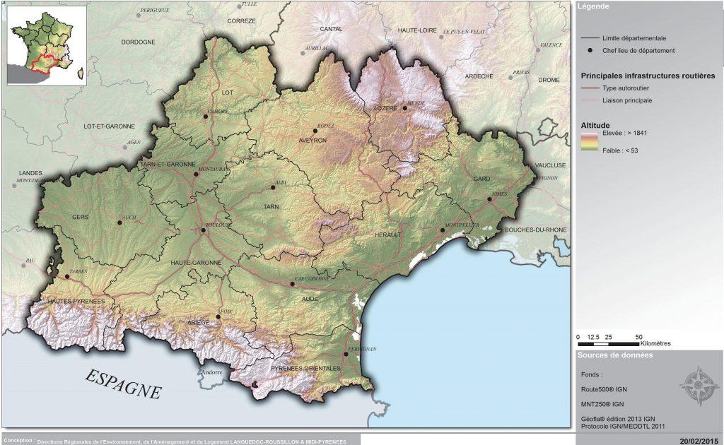 Carte du relief de l'Occitanie