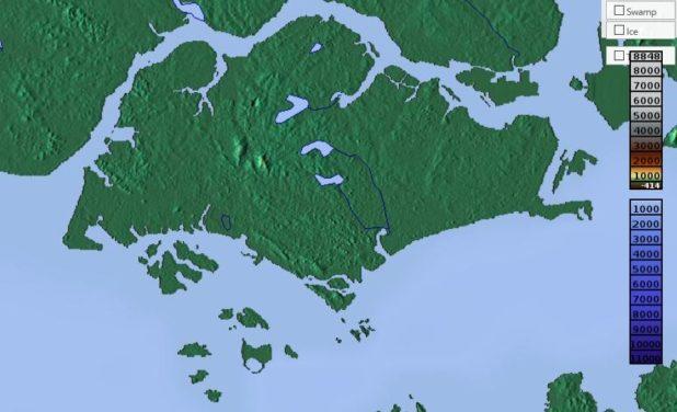 Carte du relief de Singapour